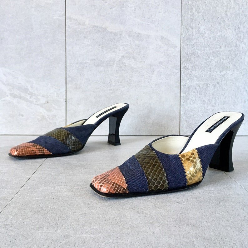 0ecac4ab1d06e 90's Blue Denim Snakeskin Mules / Vintage Slip On Heel / Curved Heel / Size  8.5 N, 8