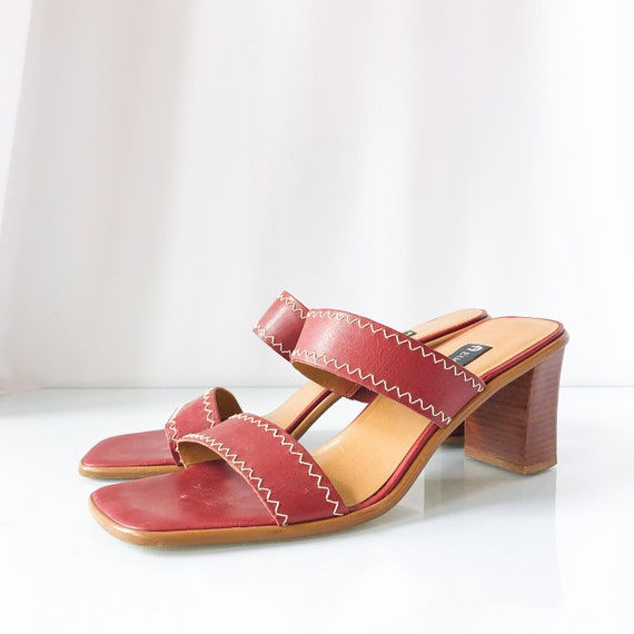 90's Red Square Toe Mules Sandals / Block Heels /