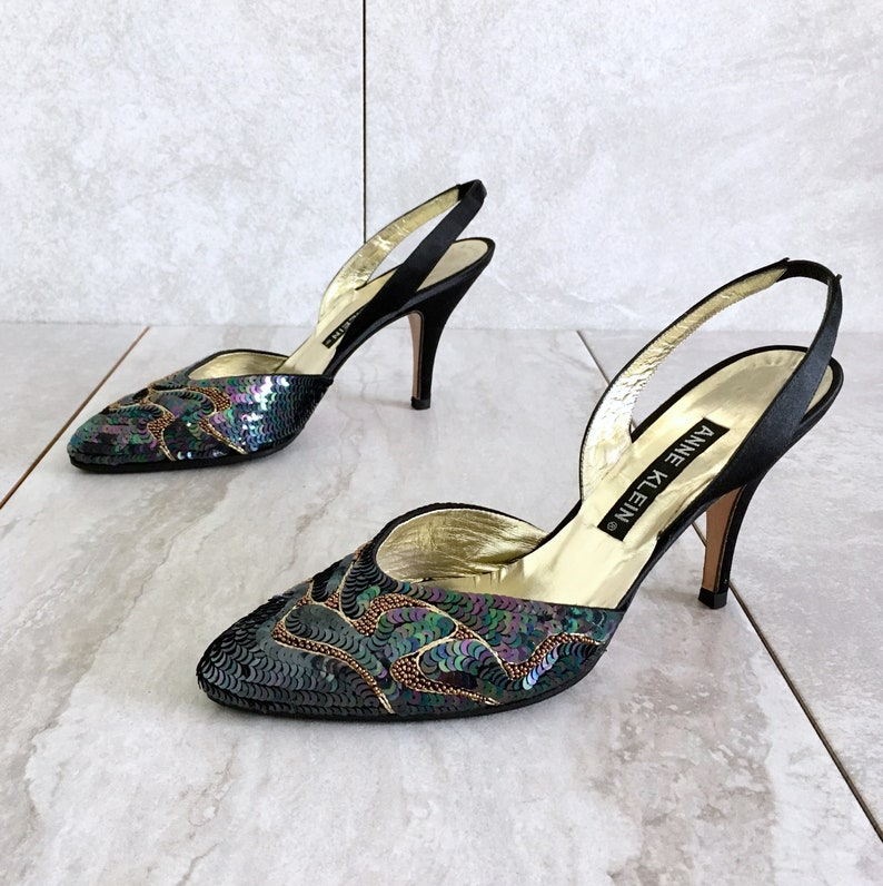 789f96e462679 CLEARANCE 90's Black Gold Sequin Slingback Heels / Vintage Strappy Sandal /  6.5M
