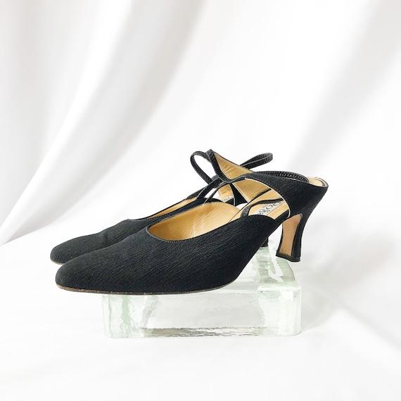 90's Black Slingback Mary Jane Mules / Heels / Si… - image 5
