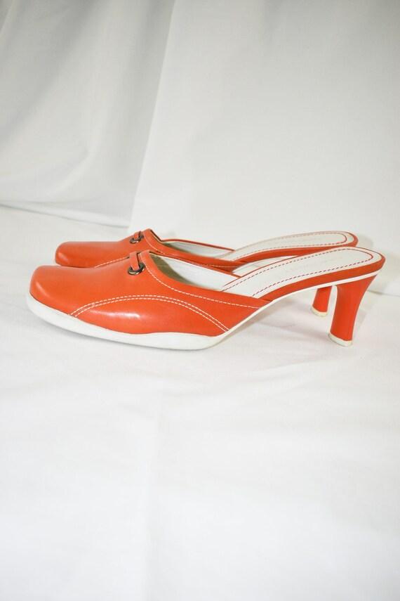 90's Orange Square Toe Mules / Sporty Heels / Siz… - image 5