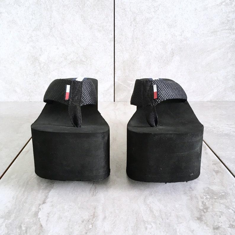 62116c1b388a 90 s Tommy Hilfiger Black Platform Wedge Sandal   Vintage