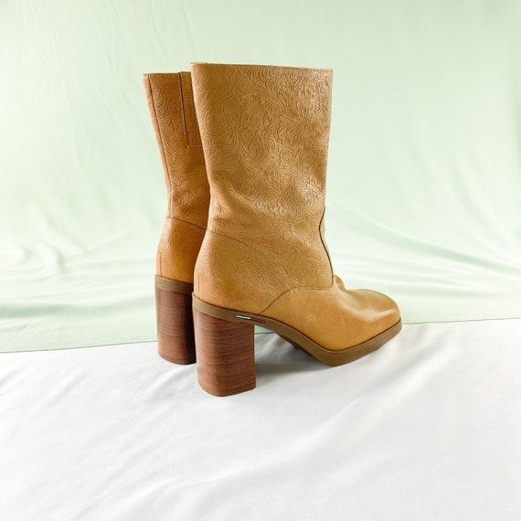 90's Tommy Hilfiger Tan Square Toe Midi Boots / B… - image 4