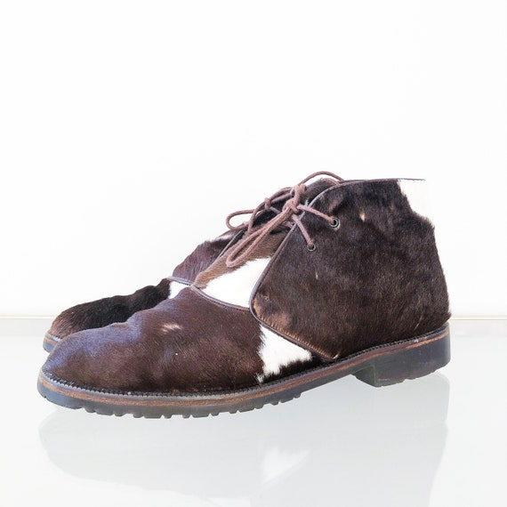 90's Joan and David Cow Hide Ankle Boots / Lace Up