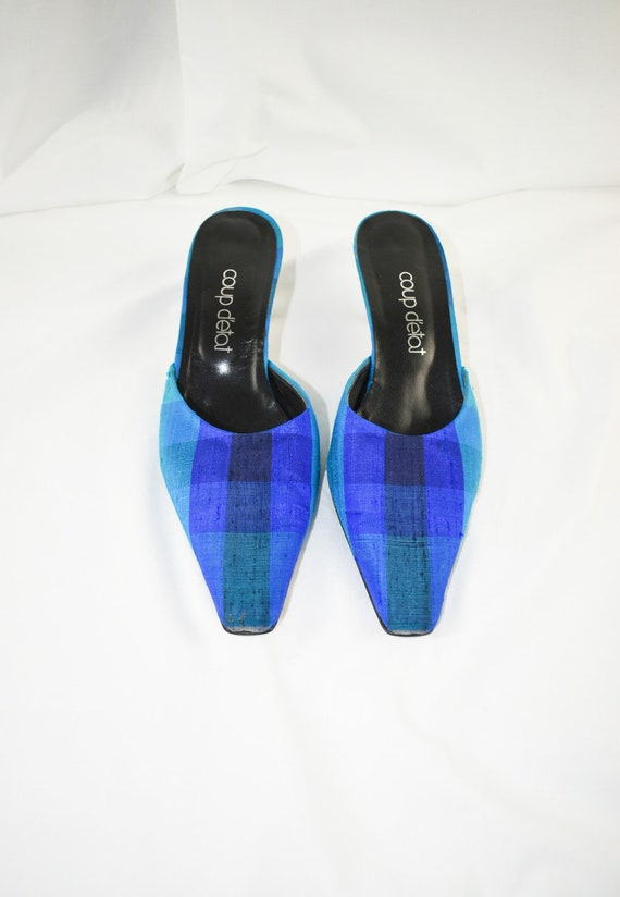 90's Blue Checkered Pointed Toe Mules / Flared He… - image 5