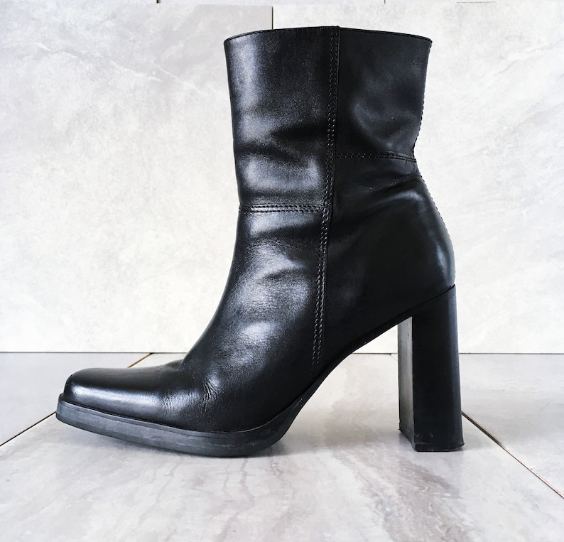 81bdda1aa9f 90 s Candies Black Leather Mid Calf Boot   Zip Up   Chunky