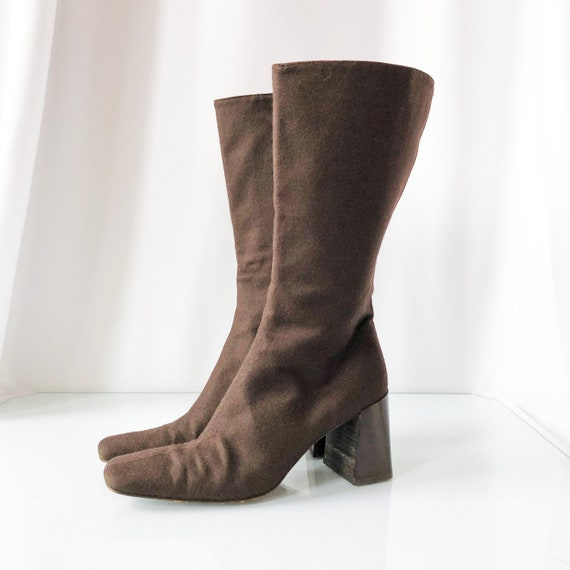 90's Chocolate Wool Square Toe Boots / Block Heels