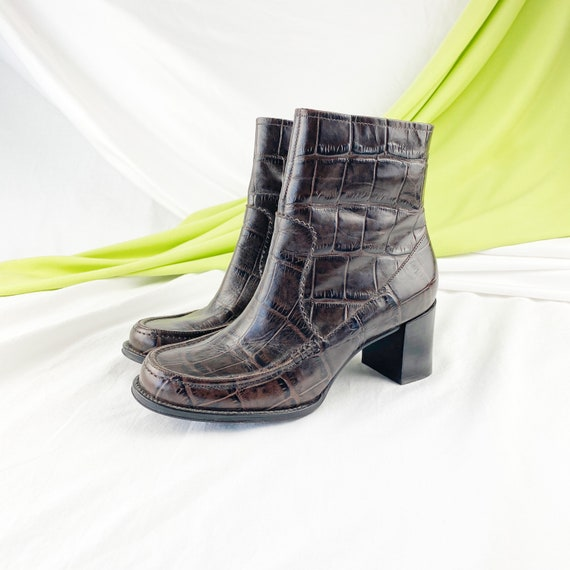 90's Crocodile Leather Ankle Boots / Block Heels … - image 1
