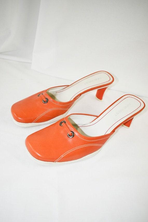 90's Orange Square Toe Mules / Sporty Heels / Siz… - image 1