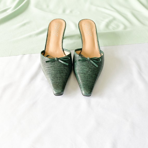 90's Green Crocodile Snakeskin Mules / Pointed To… - image 4