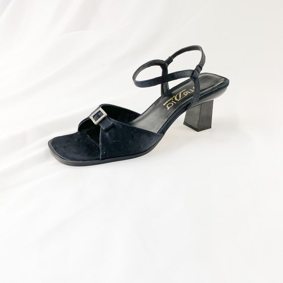 90's Black Ostrich Square Toe Mary Jane Sandals /