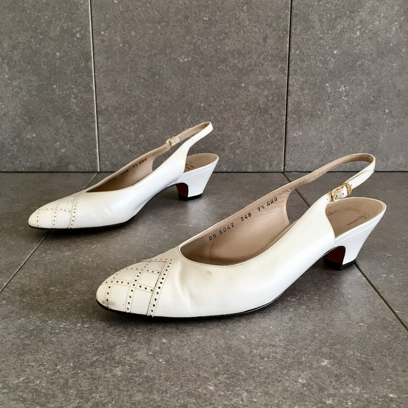 5a286639450 80s Salvatore Ferragamo White Leather Slingback Kitten Heel