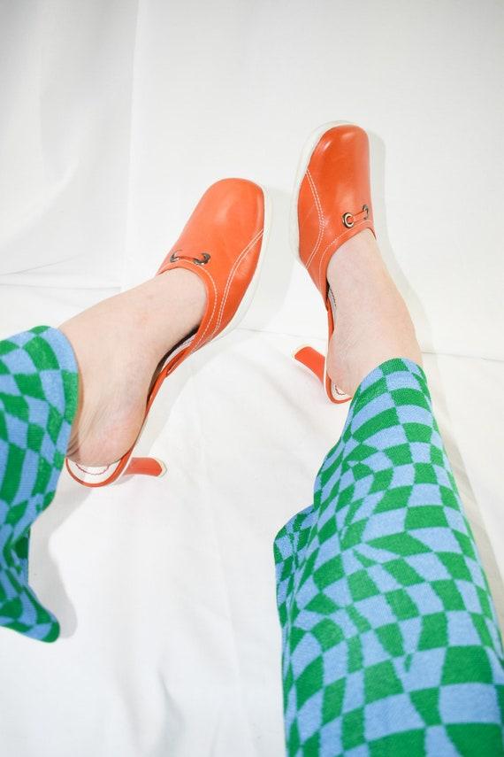 90's Orange Square Toe Mules / Sporty Heels / Siz… - image 2