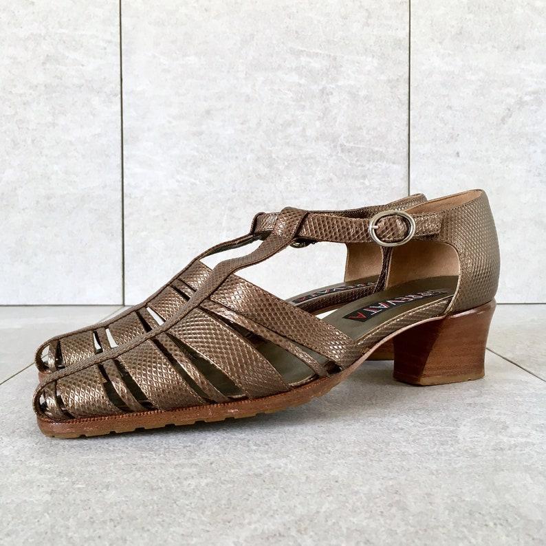 9454b8ddfe9ae0 90 s Gold Strappy Sandals  Vintage T-Strap Sandal   Block