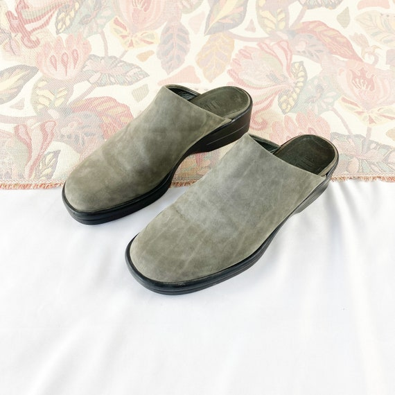 90's Gray Suede Mules Flats / Size 5.5 - image 2