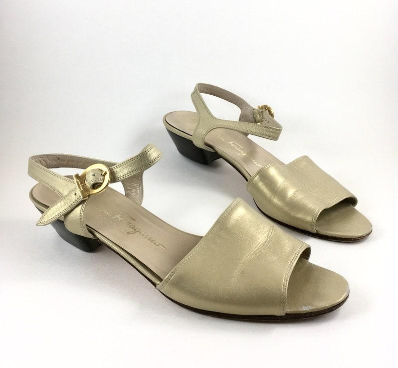 79160e41c330 Salvatore Ferragamo Gold Leather Ankle Strap Sandals   Vintage