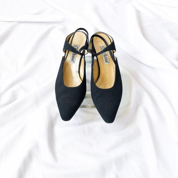 90's Black Slingback Mary Jane Mules / Heels / Si… - image 4