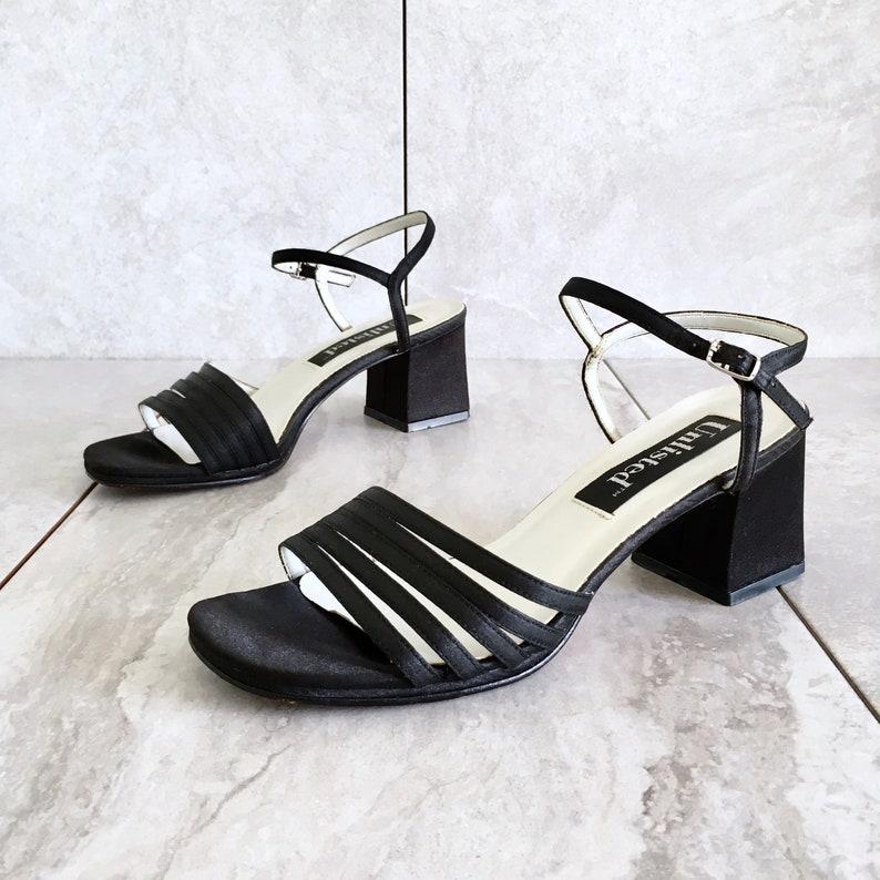 d8b1f7bb4f2f6 CLEARANCE 90's Black Mary Jane Block Heel Sandal / Vintage Strappy Sandal /  Women's 7.5