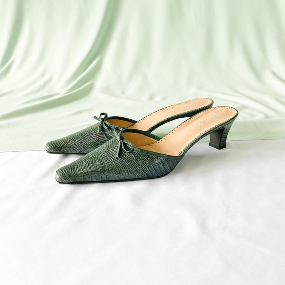 90's Green Crocodile Snakeskin Mules / Pointed To… - image 1