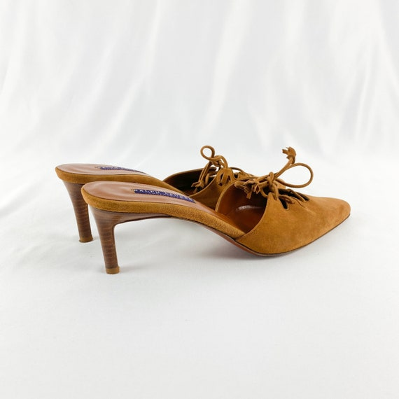 90's Camel Suede Lace Up Mules / Heels / Size 9 - image 7