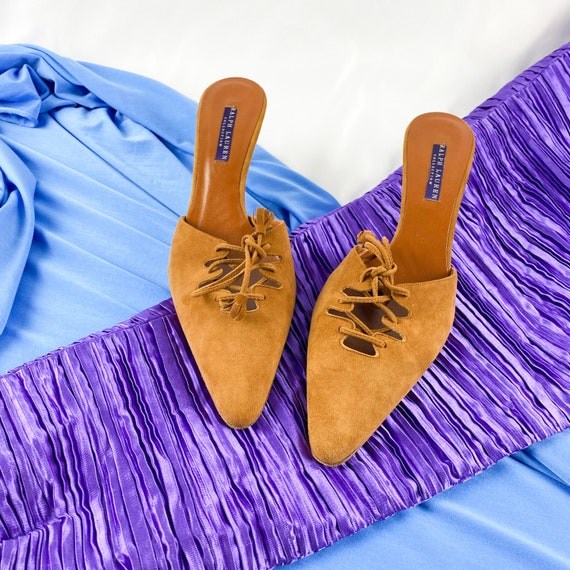 90's Camel Suede Lace Up Mules / Heels / Size 9 - image 4