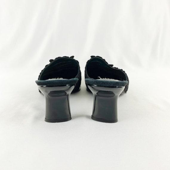 90's Stuart Weitzman Black Lace Square Toe Mules … - image 5
