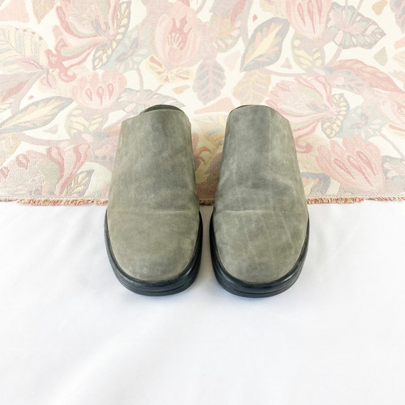 90's Gray Suede Mules Flats / Size 5.5 - image 4