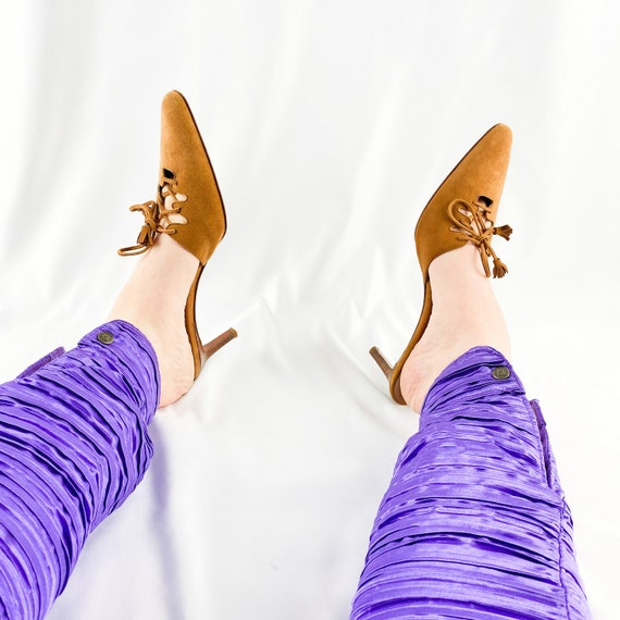 90's Camel Suede Lace Up Mules / Heels / Size 9 - image 2