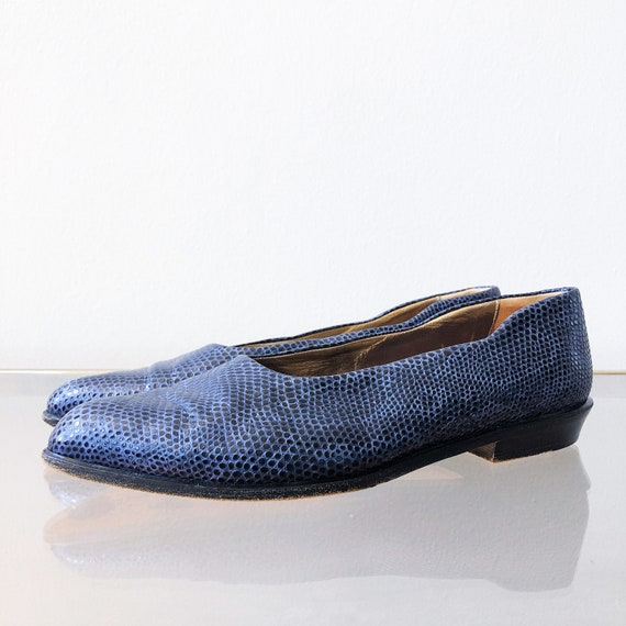 90's Joan and David Metallic Blue Snakeskin Flat /