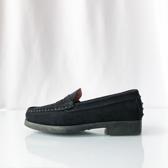 90's Black Suede Square Toe Loafers / Size 6