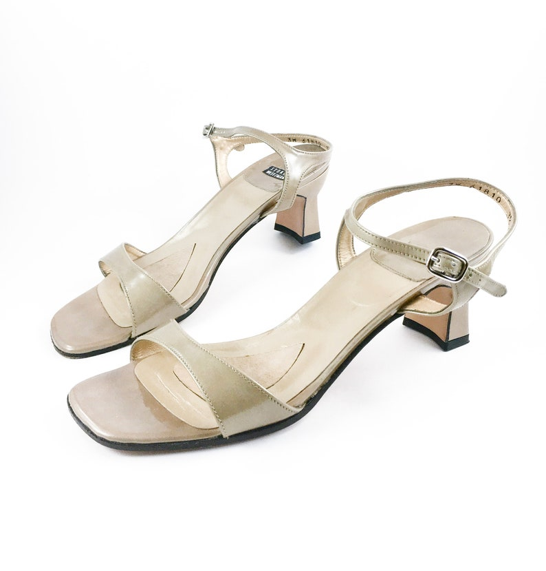9e0469e64ad7d CLEARANCE 90's Gold Patent Leathe Mary Jane Sandal / Vintage Kitten Heel /  Women's 7-7.5, 7.5AA