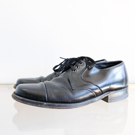 70's 80's Black Leather Lace Up Oxfords / Mens 7,