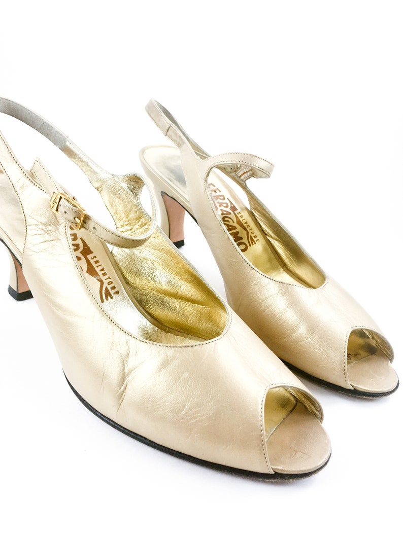 461a88c70d4a5 CLEARANCE 80's Salvatore Ferragamo Gold Mary Jane / Peep Toe Sandal /  Women's 7-7.5, 7.5AA