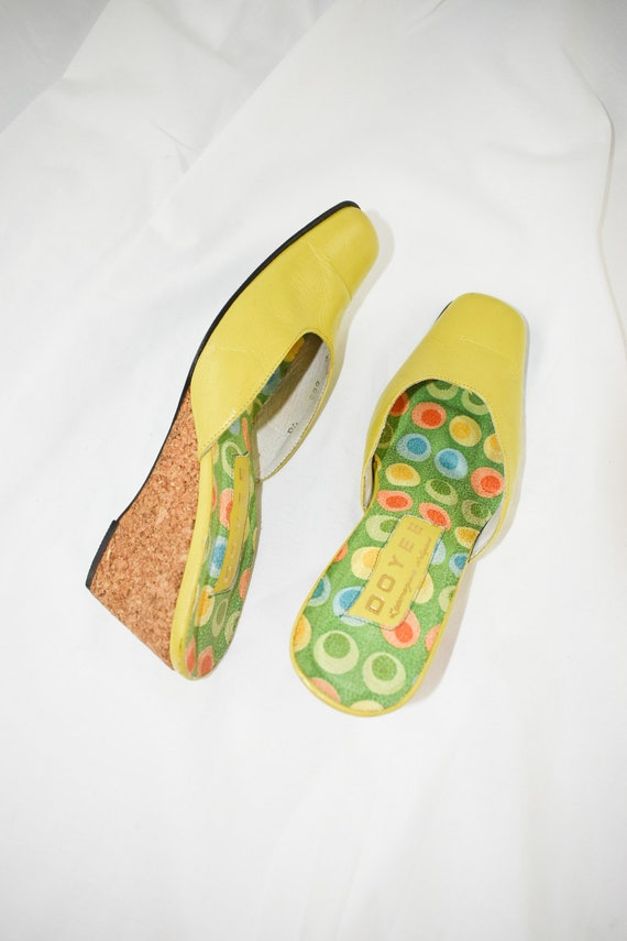 Vintage Chartreuse Green Wedge Mules / Size 7 - image 6