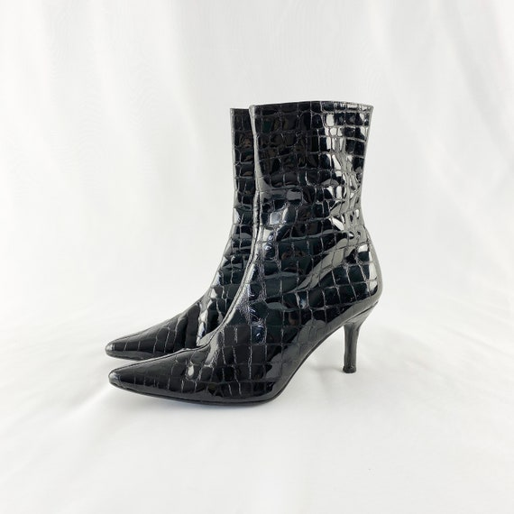 90's Black Patent Leather Crocodile Ankle Boots /