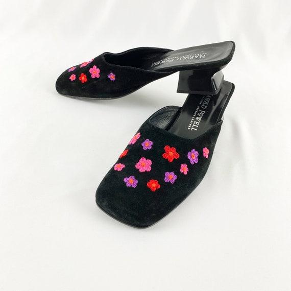 90's Floral Black Suede Square Toe Mules / Block H