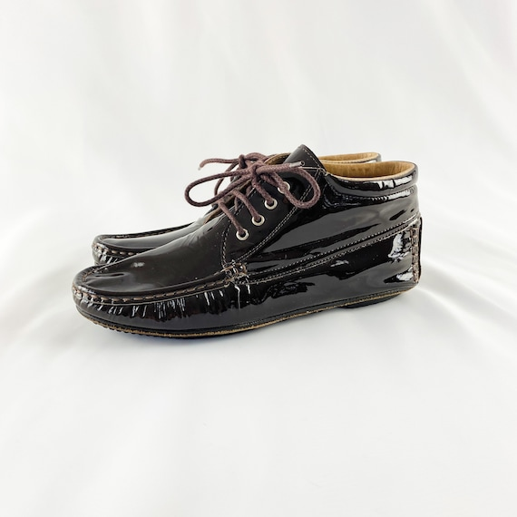 90's Charles Jourdan Patent Leather Lace Up Ankle
