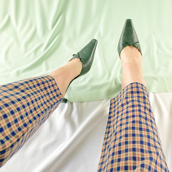 90's Green Crocodile Snakeskin Mules / Pointed To… - image 2