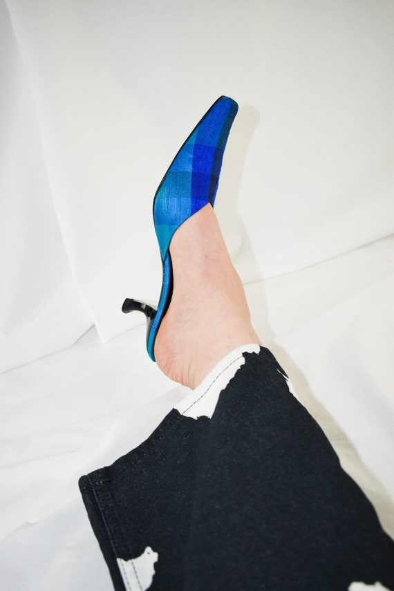 90's Blue Checkered Pointed Toe Mules / Flared He… - image 3