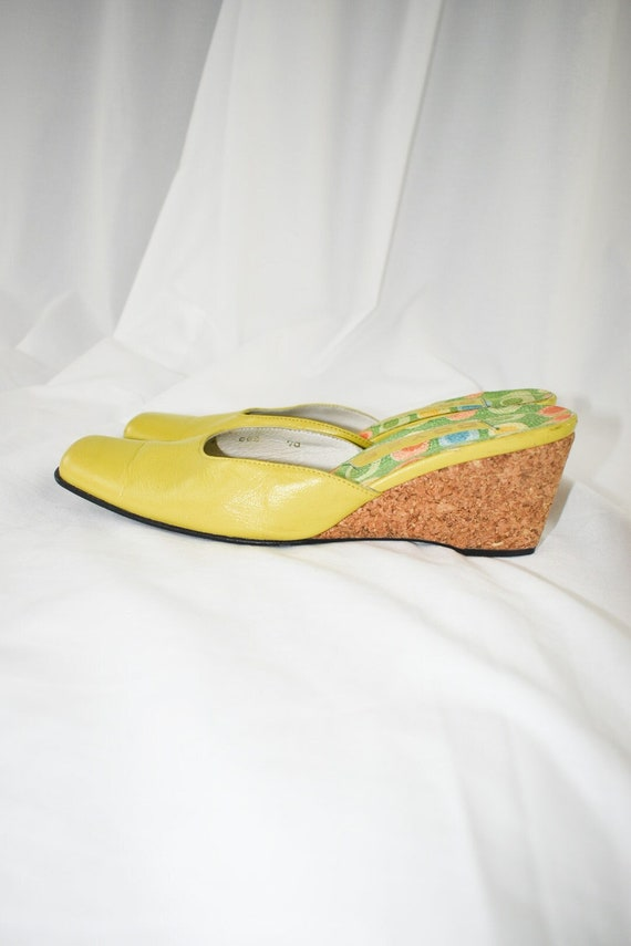 Vintage Chartreuse Green Wedge Mules / Size 7 - image 3