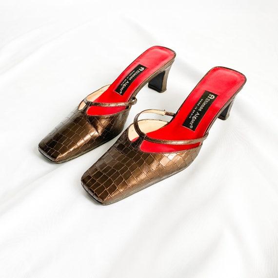 90's Bronze Metallic Crocodile Mary Jane Mules / … - image 4