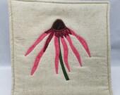 Pot Holder - Appliqued Pink Echinacea Flower Potholder, Echinacea, Pot Holder, Potholder, Trivet, Hot Pad, Botanical Art, Textile Art