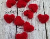 Set of 10 - Red Fuzzy Heart Embellishments - 17 mm fabric covered button - Heart button - Heart flat back