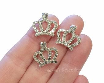 Silver and Black Rhodium #293 Rose Gold 2 Pcs  CZ Charms 11 x 13 mm Princess Tiara Mini Charm Crown Charm