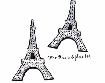 "3"" Eiffel Tower Iron on embellishment- Paris Iron on patch - Eiffel Tower embellishment- Sequin Eiffel Tower"