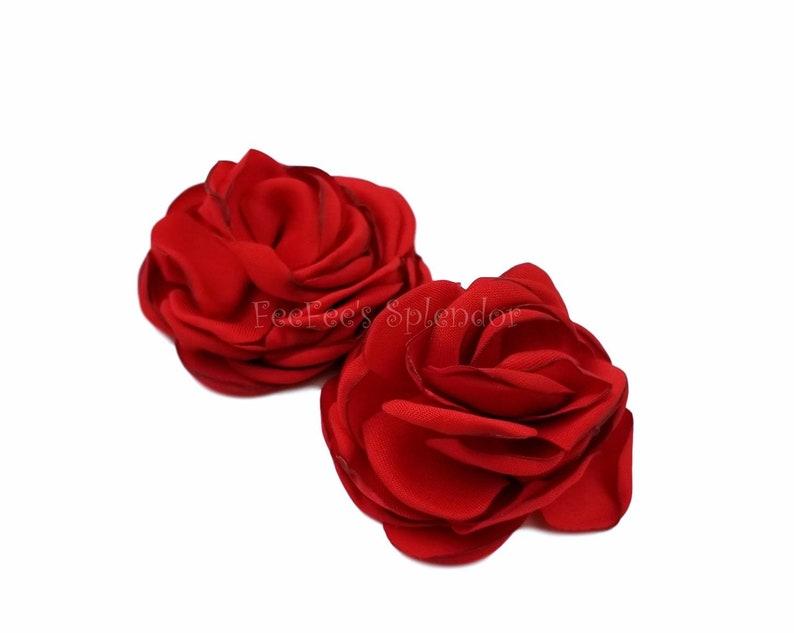 Crimson Red flower 2 layered blossom Headband flower Baby headbands DIY flower burned flower Red rosette