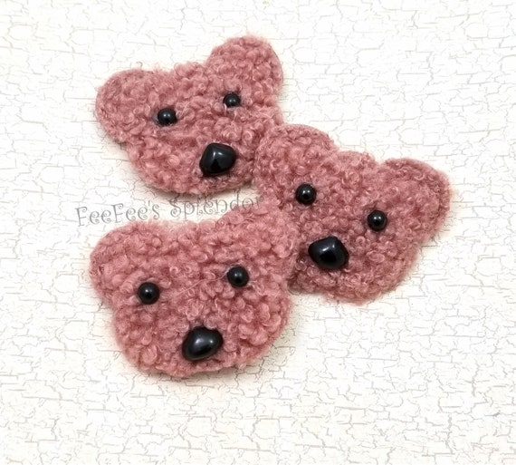 "24 felt like bear applique pink brown bow 1.5/"" x 2/"""