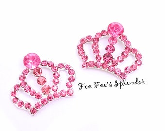 Rhinestone Crown Button -  Crown rhinestone embellishment - Crown charm button - Sparkling crown DIY hair jewelry