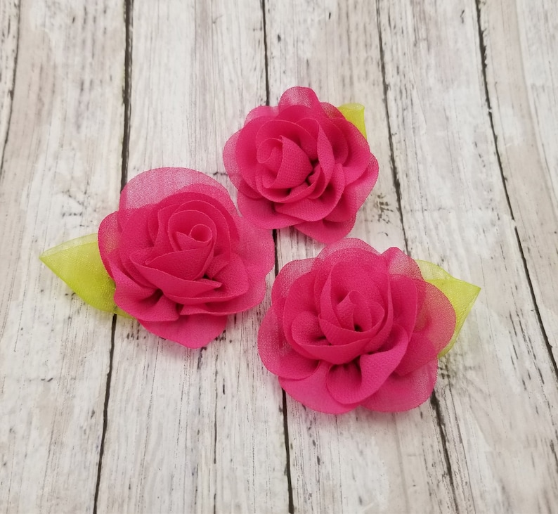 "3 pieces Pink 1.5/"" satin rolled rose //DIY baby headband"