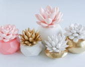 Set of 5 Succulent Sculptures in Round and Geometric, Gold and Peach Pink Planters, Tabletop, Desktop, Modern, Home and Office Decor